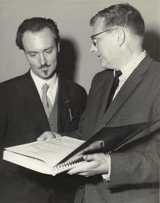 Ronald Stevenson and Dmitri Shostakovich with the score of Ronald Stevenson's Passacaglia on DSCH