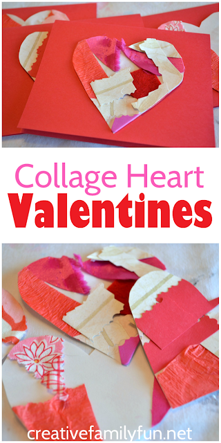 Turn a simple collage into beautiful cards with this fun Valentines Day craft for kids.