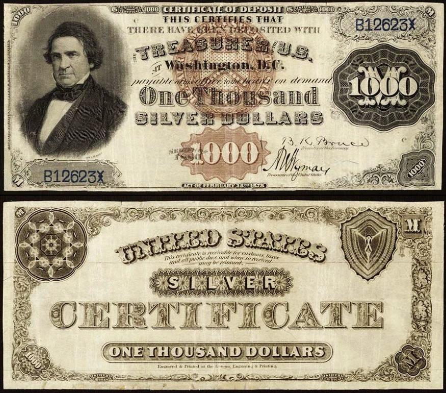 1880 1000 Dollar Silver Certificate
