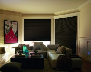 New LightLock feature available on Hunter Douglas Duette Honeycomb blinds provides total blackout for room darkening shades.