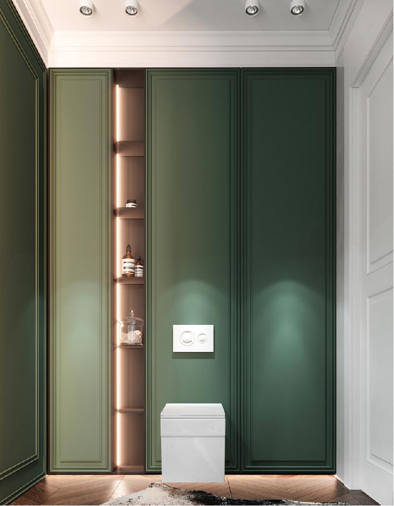 boiserie legno verde per bagno moderno