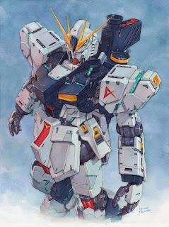 Nu Gundam watercolor by Hector Trunnec