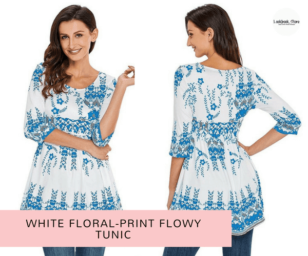 White Floral-Print Flowy Tunic | Lookbook Store