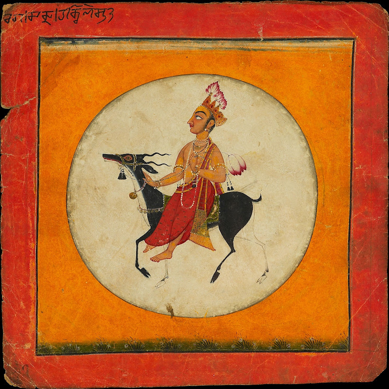 Moon God Holding a Lotus and Riding a Blackbuck within the Face of a Full Moon - Ragamala Series, Basohli c1680