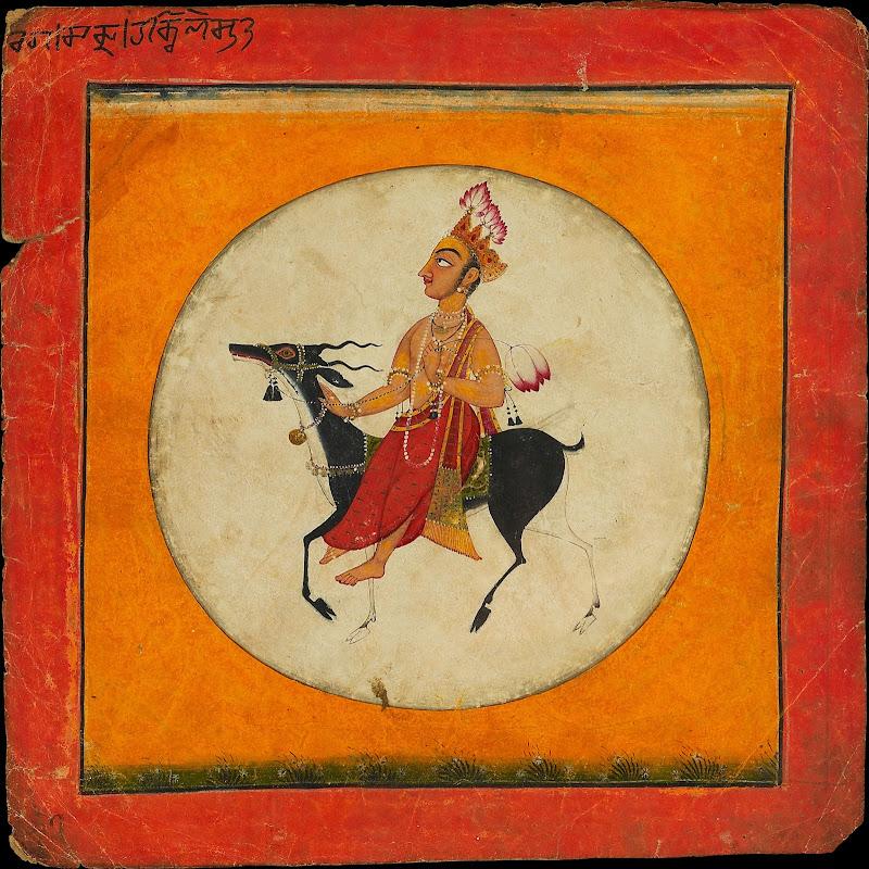 Moon God Holding a Lotus and Riding a Blackbuck within the Face of a Full Moon - Ragamala Series, Basohli c1680