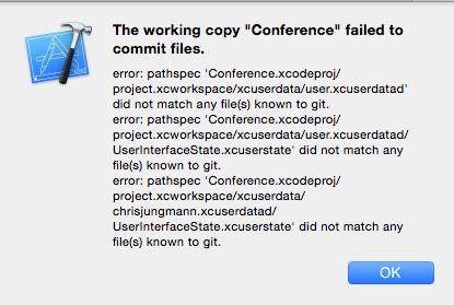 XCode Git Commit Error Resolotion | inCaffeine Development