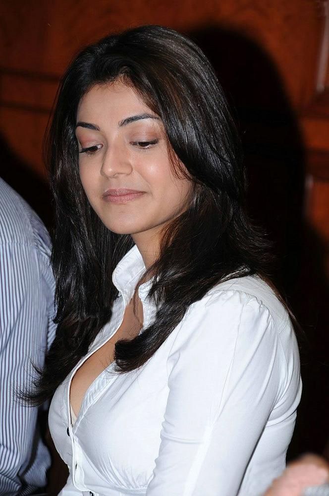 Actress Kajal Agarwal New White Shirt Photoshoot -9984