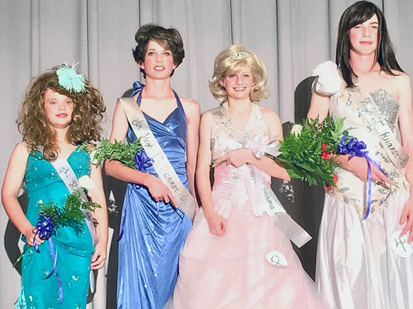 A scholastic womanless beauty pageant photo that Starla recently discovered on Facebook.