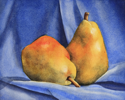 Fabric and Pears - Painting Demo I did with my Watercolor Students
