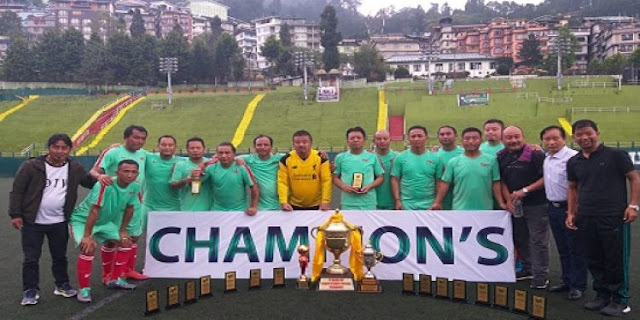 Darjeeling Towns Club champion of  of Sikkim Veterans Football Tournament played at Paljor Stadium in Gangtok