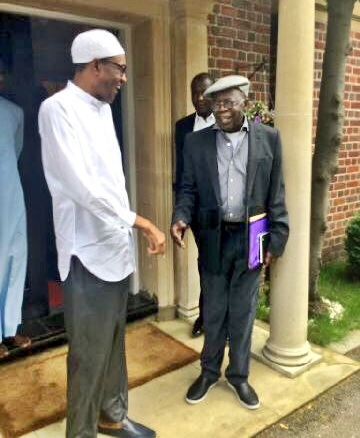 Amid Controversies, Buhari and Tinubu Spotted Exchanging Banters in London (Photos)