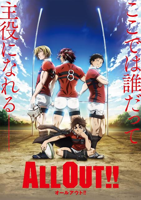 Czterej bohaterowie anime All Out!! uprawiający rugby