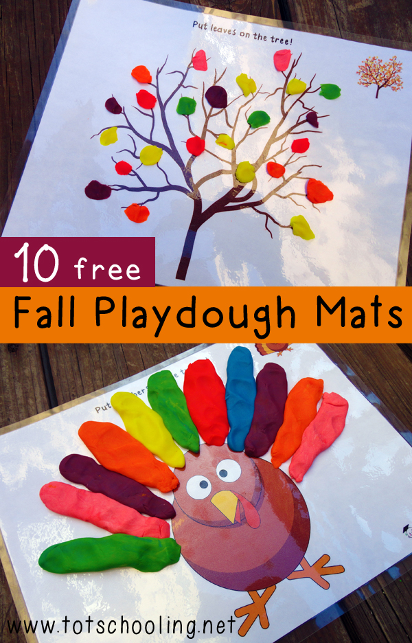 These free printable Fall playdough mats are a fun way to celebrate the season. Featuring a Fall tree, a turkey, a jack-o-lantern, a bat, a witch, monsters, spiders, ghosts and more!