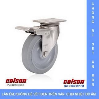 Bánh xe cao su càng bánh xe inox 304 chịu tải trọng (90~136kg) | www.banhxepu.net
