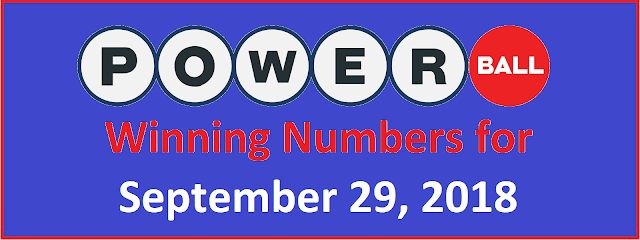 PowerBall Winning Numbers for Saturday, 29 September 2018