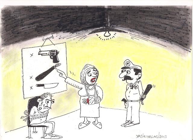 kadına şiddet karikatürü