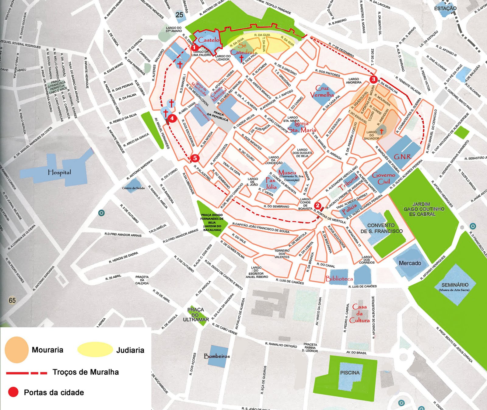 mapa de ruas portugal Mapas de Beja   Portugal | MapasBlog mapa de ruas portugal