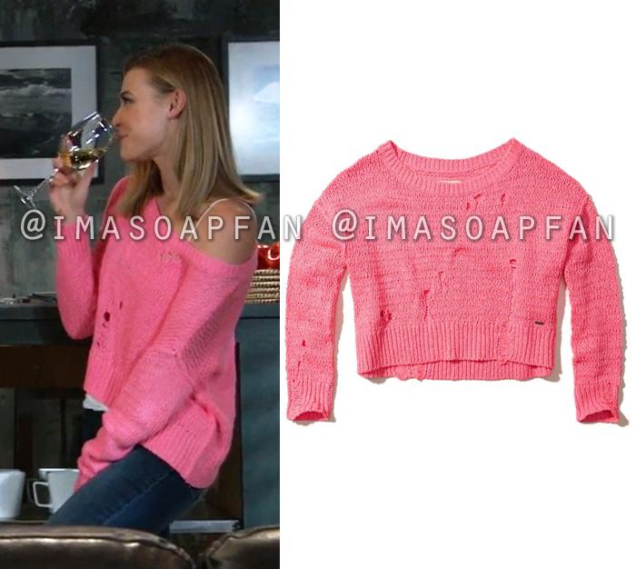 Kiki Jerome, Hayley Erin, Bright Pink Off-the-shoulder Sweater, General Hospital, GH