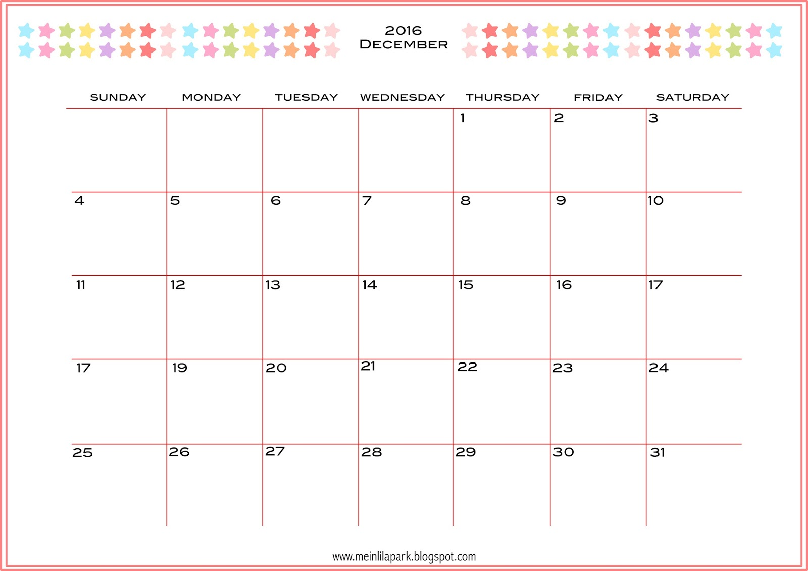 Free printable 2016 monthly planner calendar - part 2 ...