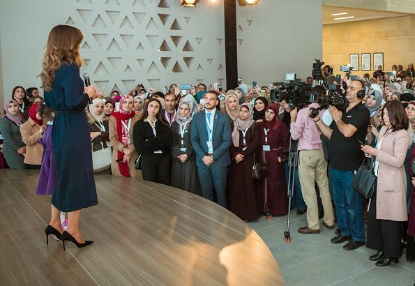 Queen Rania wore Maison Makarem dress,  Jimmy Choo laria shoes and carried  Fendi Bag