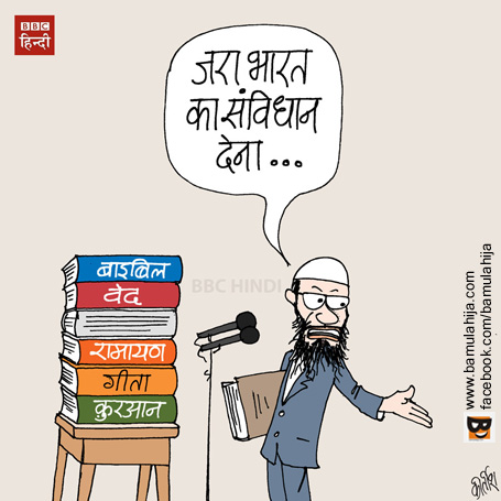 cartoon, hindi cartoon, bbc cartoon, cartoons on politics, indian political cartoon, Media cartoon, zakir naik