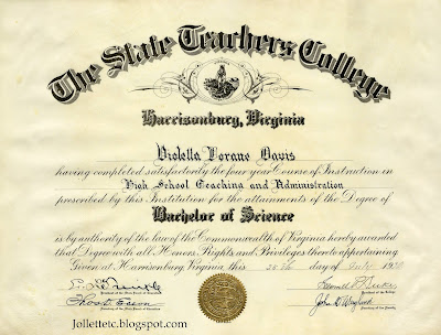 Violetta Davis Ryan's second diploma https://jollettetc.blogspot.com