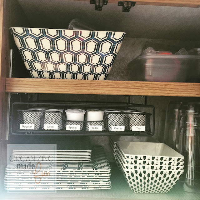 K cup holder undermounted on shelf cabinet in RV :: OrganizingMadeFun.com