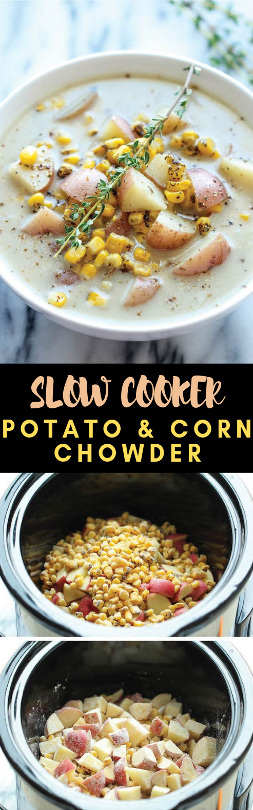 SLOW COOKER POTATO AND CORN CHOWDER #Vegetarian #Crockpot
