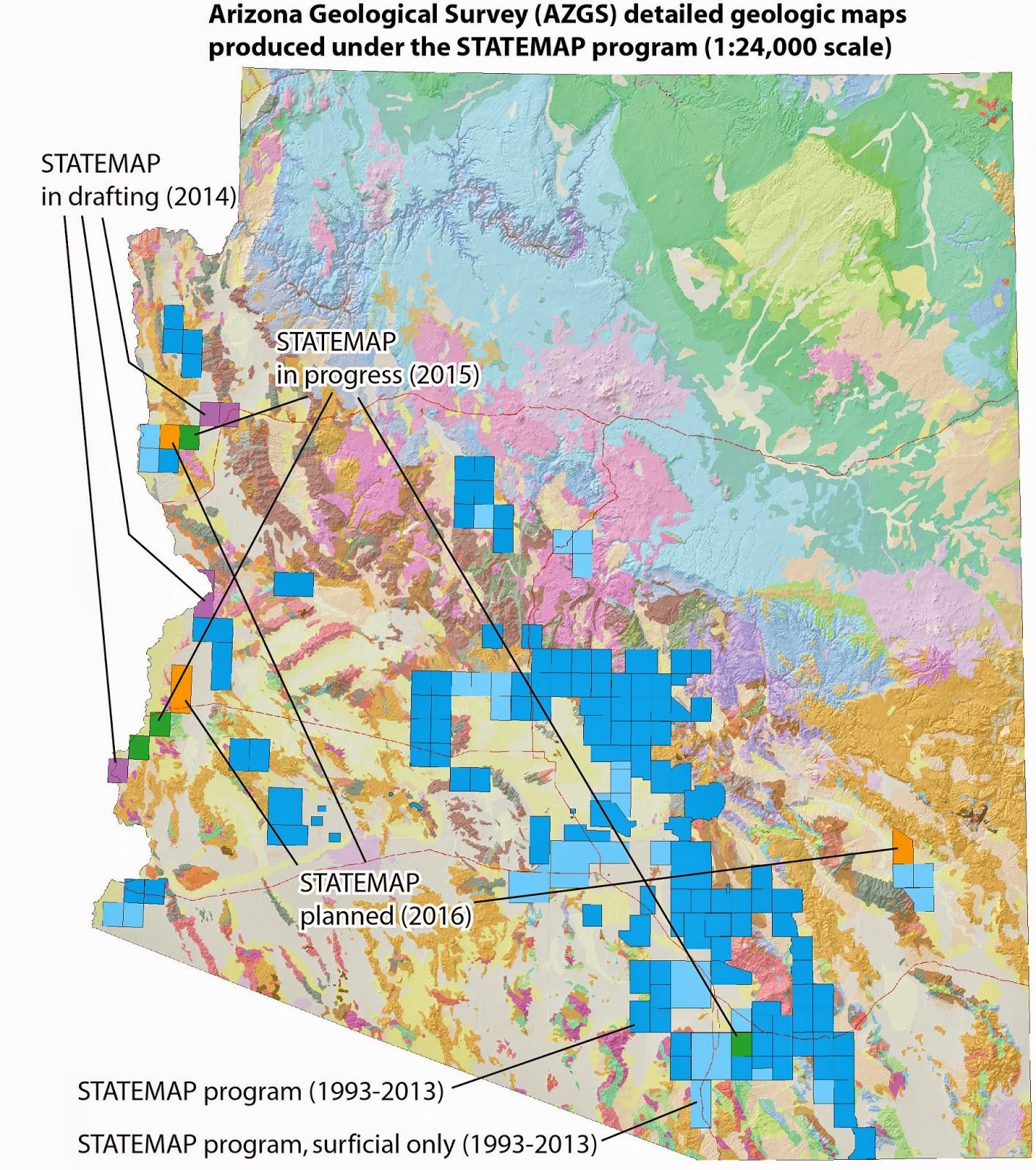 Map Of Arizona Only.Arizona Geology April 2015