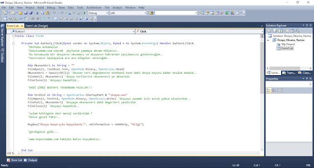 Visual Basic.Net ile Dosya Okuma ve Yazma İşlemi Videolu