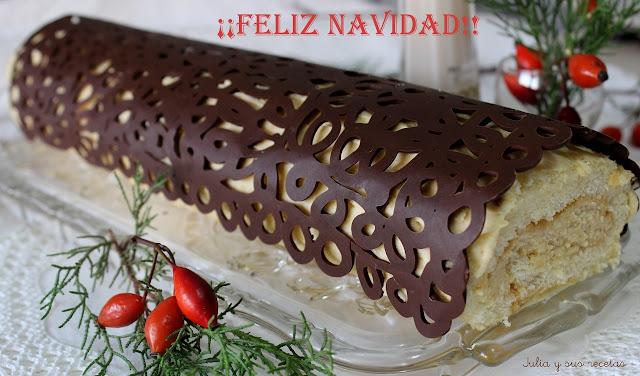 Tronco de Navidad relleno de crema de turrón. Julia y sus recetas