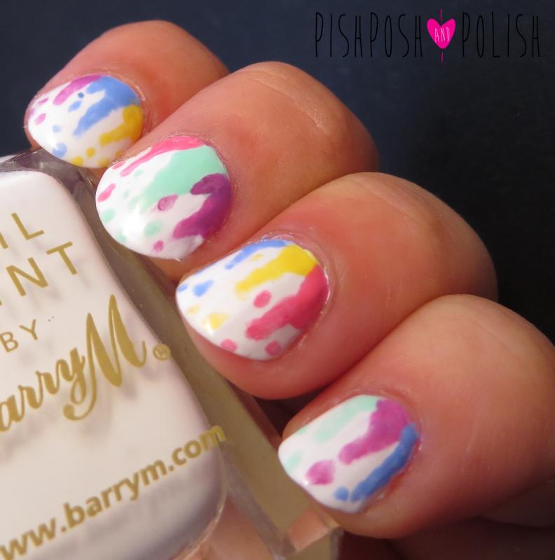 Pastel Raindrow Paint Drips Nail Art