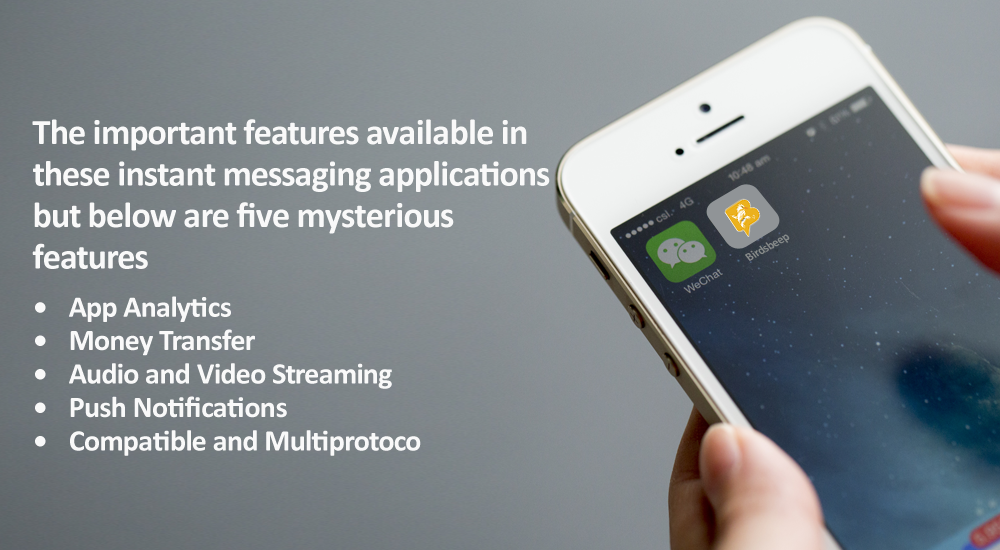 The important features available in these instant messaging applications