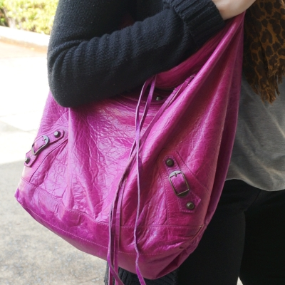 Balenciaga 2005 magenta chevre day bag RH worn on shoulder | Away From The Blue