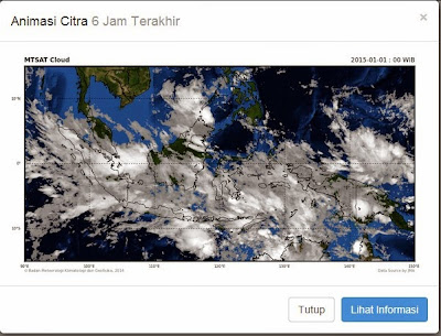 Sebagian besar Jawa tertutup awan