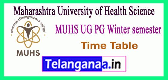 MUHS Maharashtra University of Health Sciences Nashik UG PG Winter Time Table