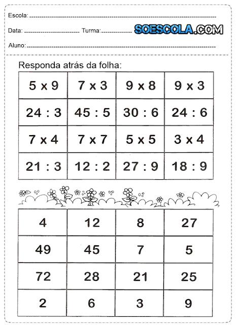 Atividades de Matemática de multiplicação, divisão, subtração e adição.