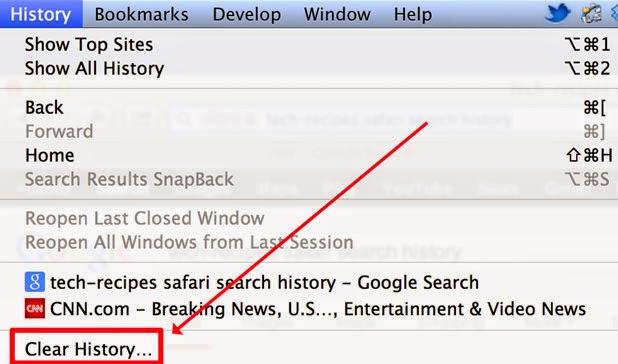 Clear history option missing from History Menu in Safari