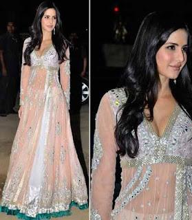 katrina kaif a famous bollywood actress wearing a white color designer churidar anarkali salwar suit