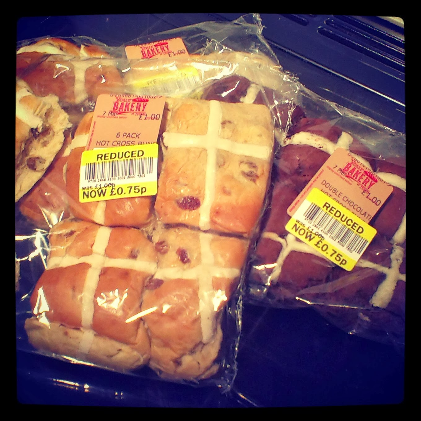 Reduced price hot cross buns