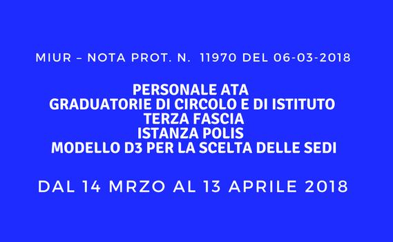 Personale ATA – Graduatorie di circolo e di istituto di terza fascia