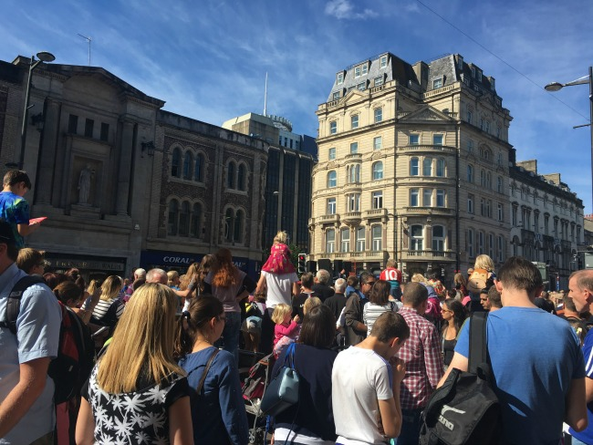 City-Of-The-Unexpected-Cardiff-Celebrates-Roald-Dahl-crowds-waiting-for-something