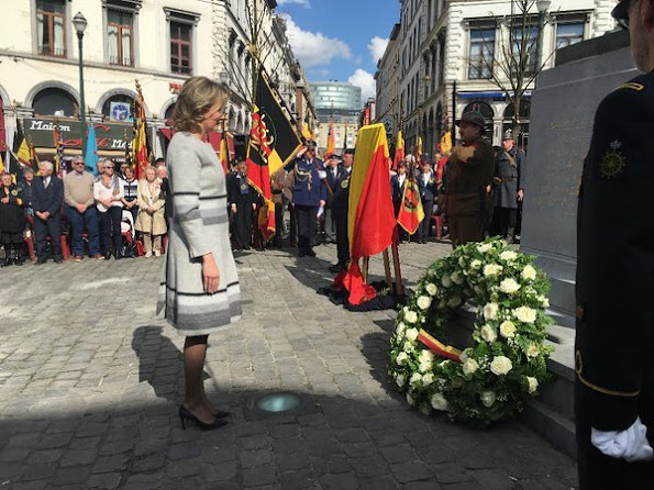 Queen Mathilde of Belgium paid tribute to resistance heroine Gabrielle Petit during a ceremony at the Place Saint-Jean