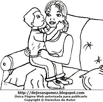 Dibujo de una madre con su hijo para colorear pintar imprimir. Dibujo por el Día de la Madre de Jesus Gómez