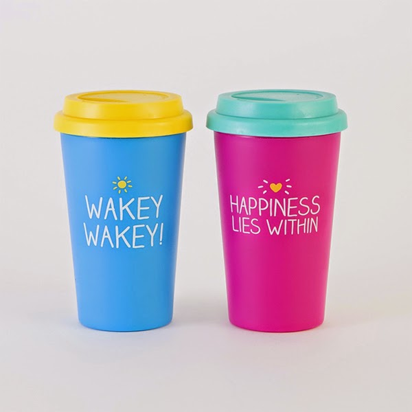 White Background of 2 Happy Jackson Travel Mugs