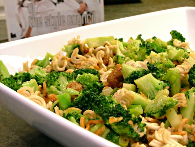 Broccoli Salad with Crunchy Noodles and Chopped Pecans