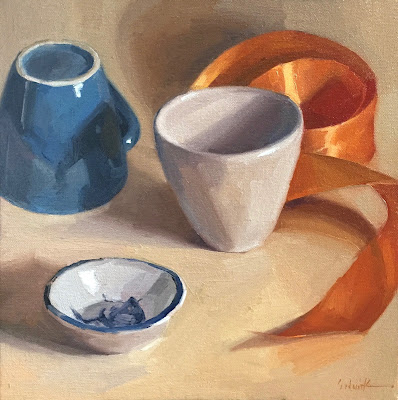 painting cups ribbon dishes still life