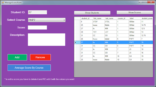C# Students Information System Source Code - manage scores - show scores