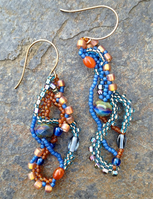 freeform beaded earrings by Karen Williams, Earth & Sky color way