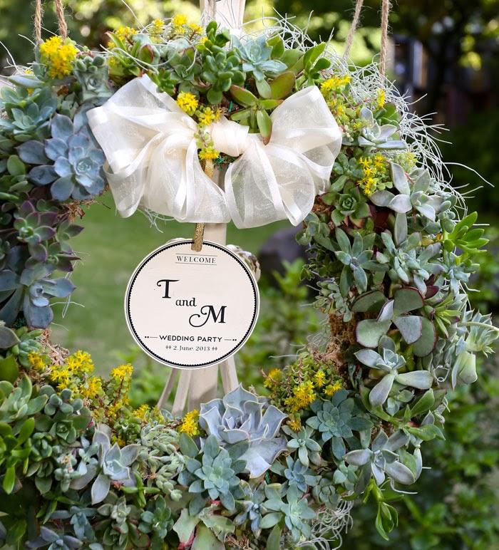 日仏学院ラブラスリーでの結婚式の多肉植物で手作りしたウェルカムリース